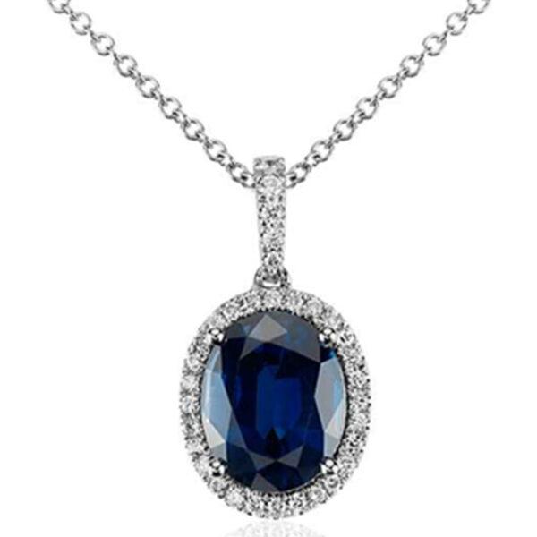 Κολιέ Diamonds & Sapphire Oval