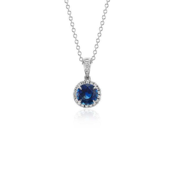 Κολιέ με μπλε ζαφείρι και διαμάντια