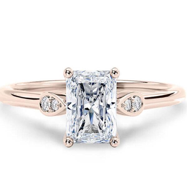 Μονόπετρο δαχτυλίδι ροζ χρυσό Κ18 χειροποίητο