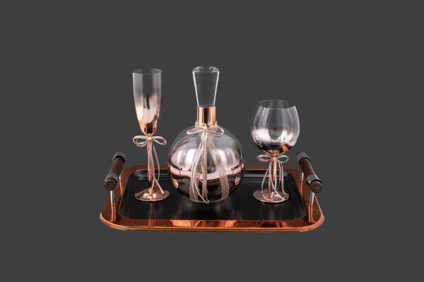 Σετ δίσκος μοντέρνος με μέταλλο & καράφα ποτήρι