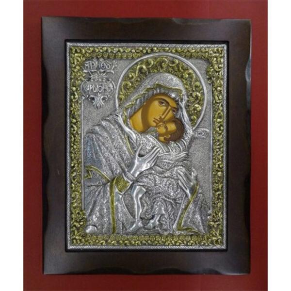 Παναγία Καρδιώτισσα εικόνα ασημένια