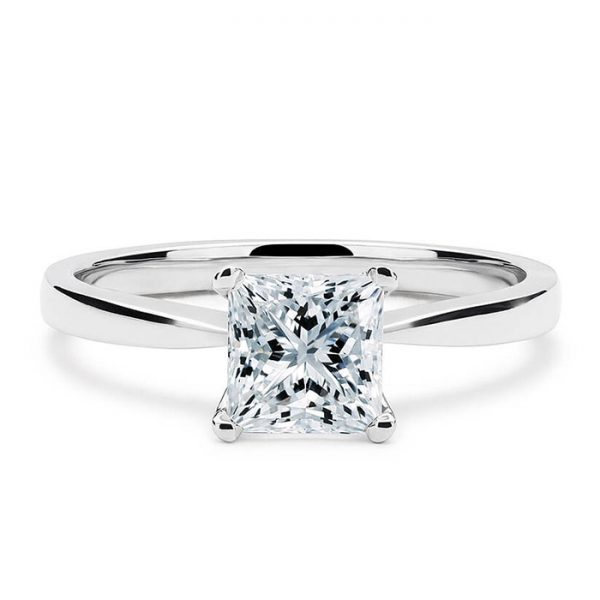 Μονόπετρο δαχτυλίδι λευκόχρυσο