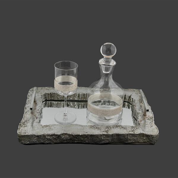 vintage σετ δίσκος καράφα ποτήρι κρασιού & σαμπάνιας
