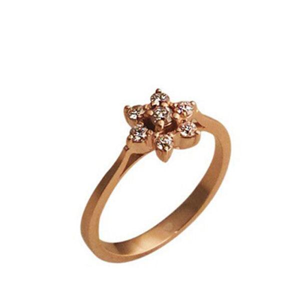 Μονόπετρο δαχτυλίδι ρoζ χρυσό με μπριγιάν