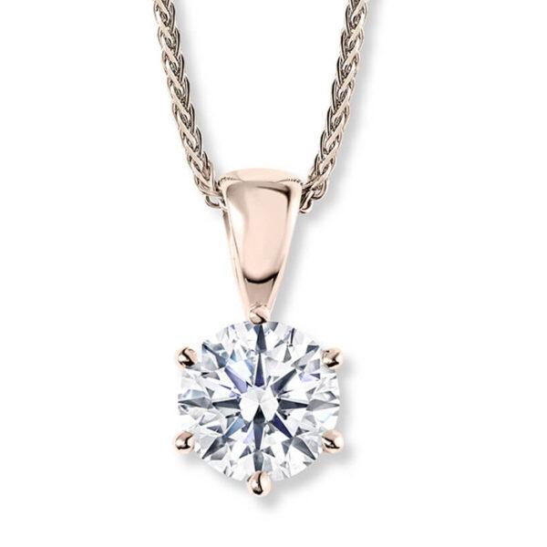 Μονόπετρο με διαμάντι ροζ χρυσό