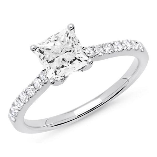 Λευκόχρυσο μονόπετρο δαχτυλίδι με Princess cut