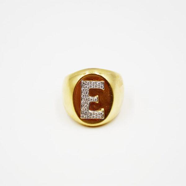 Ασημένιο δαχτυλίδι με μονόγραμμα