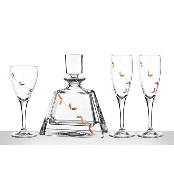αριστοκρατικό σετ γάμου δίσκος καραφα ποτήρι
