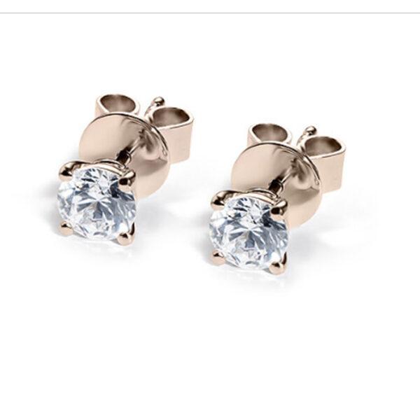 Σκουλαρίκια με μπριγιάν ροζ χρυσό