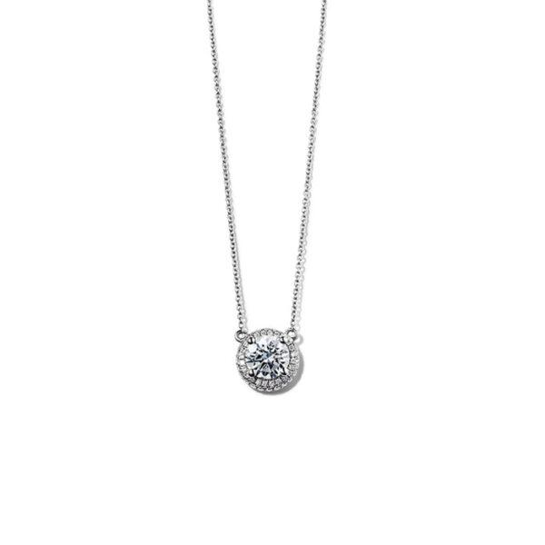 Μονόπετρα κολιέ με διαμάντια