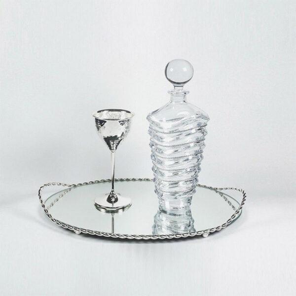 Vintage σετ γάμου με δίσκο καράφα ποτήρι
