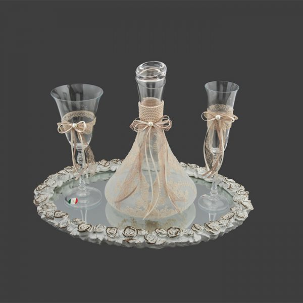 Vintage σετ καράφα ποτήρι δίσκος γάμου – Είδη γάμου kosmima-rologia.gr