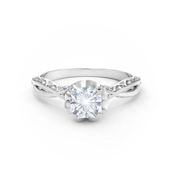 Δαχτυλίδι μονόπετρο με διαμάντια λευκόχρυσο
