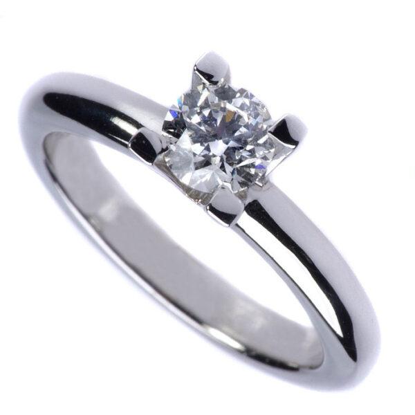 δαχτυλίδι μονόπετρο λευκόχρυσο