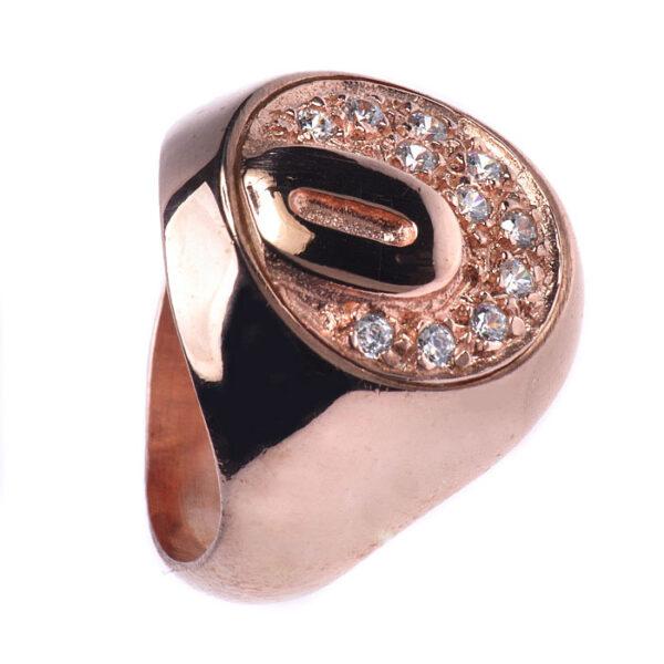 Δαχτυλίδι μονόγραμμα σε ροζ χρυσό με ζιργκόν - Επιλέξτε αρχικό