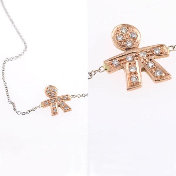 βραχιολι ροζ χρυσο & λευκοχρυσο με διαμαντια