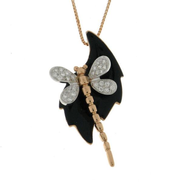 Πεταλούδα κολιέ χειροποίητο με διαμάντια και σμάλτο ρόζ χρυσό