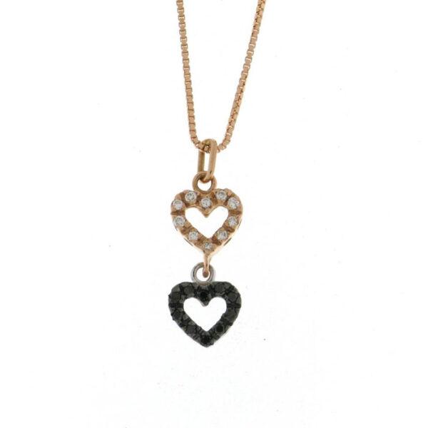Καρδιά μενταγιόν με διαμάντια