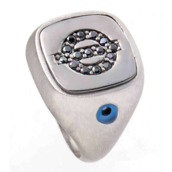 ασημένια δαχτυλίδια με μονόγραμμα