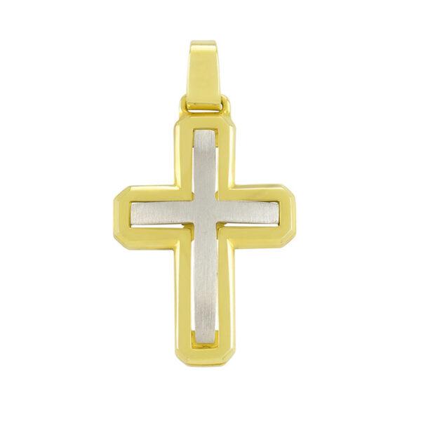 σταυρός λευκόχρυσος & χρυσός χειροποίητος μασίφ
