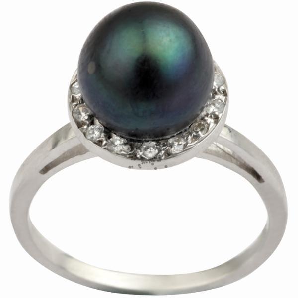 Δαχτυλίδι μαύρο μαργαριτάρι & μπριγιάν