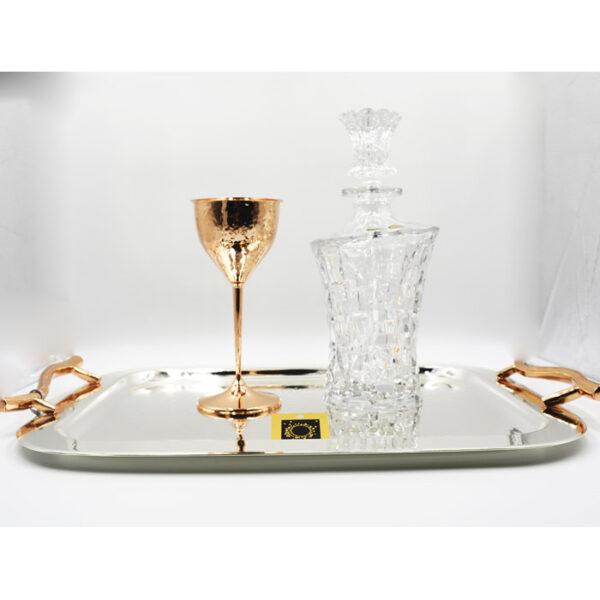 Καράφα ανάγλυφο σχέδιο δίσκος & ποτήρι ροζ χρυσό