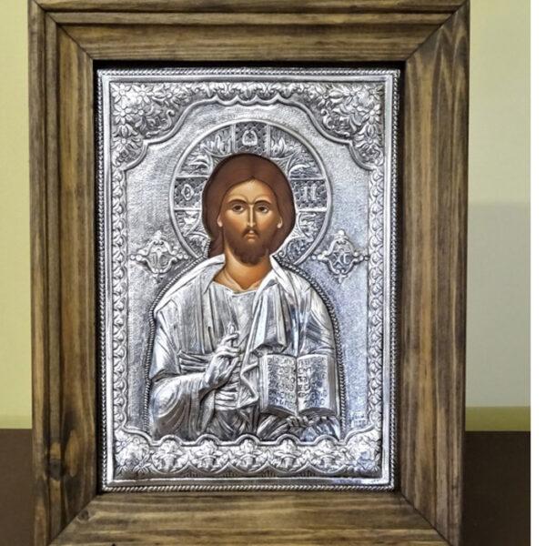 Χριστός Παντοκράτωρ εικόνα ασημένια
