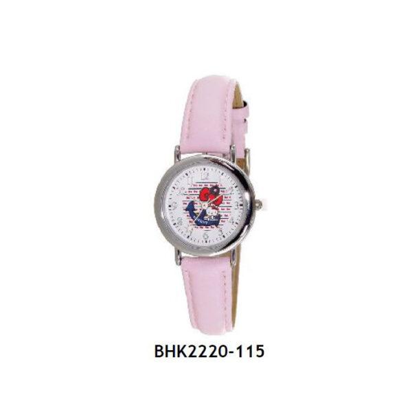 Παιδικό Hello Kitty ρολόι απο ανοξείδωτο ατσάλι και ρόζ δερμάτινο λουράκι