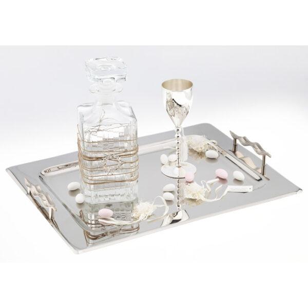 Δίσκος inox με ποτήρι επάργυρο & καράφα με φύλλα ελιάς