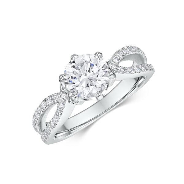 Κορυφαίο μονόπετρο δαχτυλίδι σε λευκόχρυσο κ18