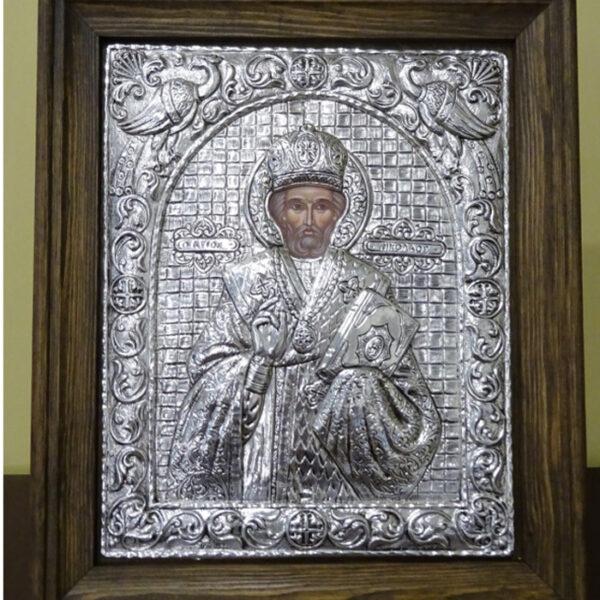 αγιος νικόλαος εικόνα ασημένια