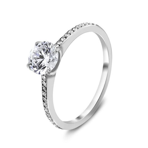 Μονόπετρο λευκόχρυσο με διαμάντια