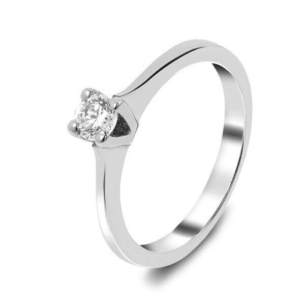 Μονόπετρο λευκόχρυσο 18 καρατιών με διαμάντι