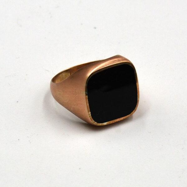 δαχτυλίδι ασημένιο 925 με χρυσό και μαύρη πλάκα