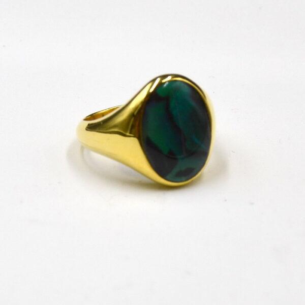 δαχτυλίδι ασημένιο επίχρυσο με πράσινη πέτρα