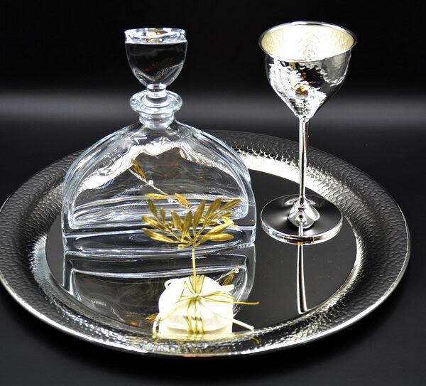 νυφικό σετ γάμου δίσκος καράφα ποτήρι επίχρυσο