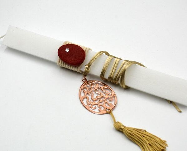 ροζ χρυσό αβγό με σχέδιο σε κρεμαστό