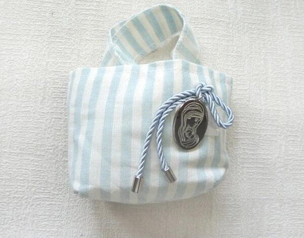 μπομπονιέρες βάπτισης με παναγίτσα & κορδόνι γαλάζιο