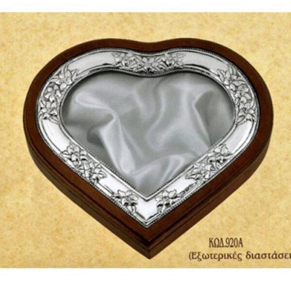 ασημενια στεφανοθηκη καρδια