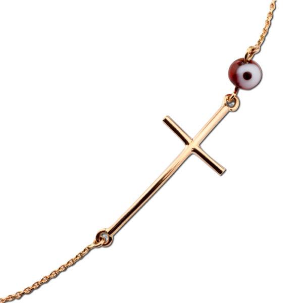 βραχιόλι σταυρός μοντέρνος Κ18 καράτια ροζ χρυσό με ματάκι μουράνο
