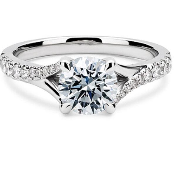Μονόπετρο λευκόχρυσο μοντέρνο & με πλαϊνά διαμάντια