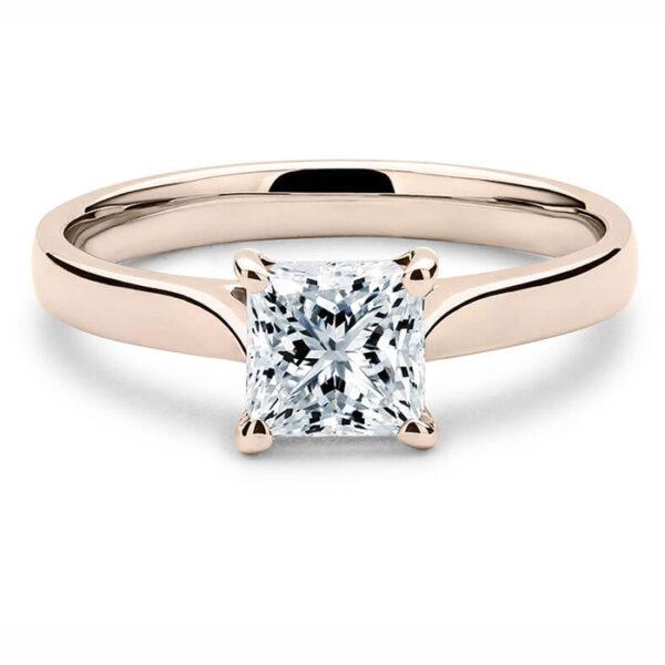 Μοντέρνο μονόπετρο δαχτυλίδι σε ροζ χρυσό