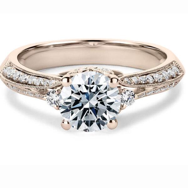 μονόπετρο δαχτυλίδι αρραβώνα με πλαϊνά διαμάντια
