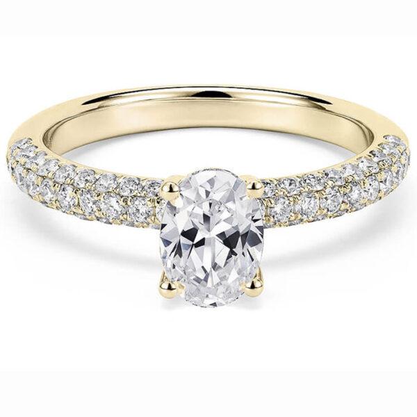 χρυσό μονόπετρο δαχτυλίδι με οβάλ διαμάντι