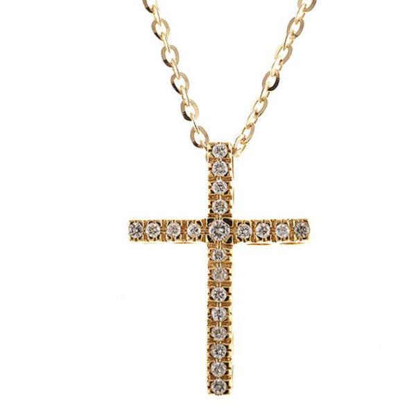 γυναικείος σταυρός με διαμάντια σε κίτρινο χρυσό