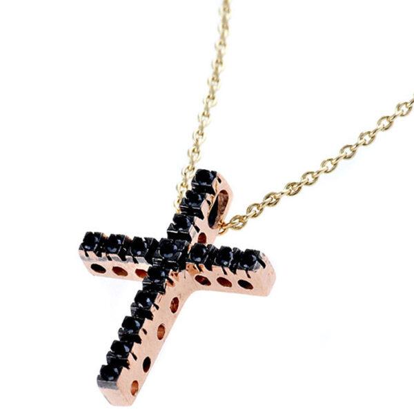 σταυρός γυναίκείος ροζ χρυσό με μαύρα διαμάντια