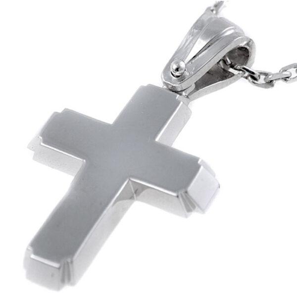 λευκόχρυσος σταυρός βάπτισης χειροποίητος