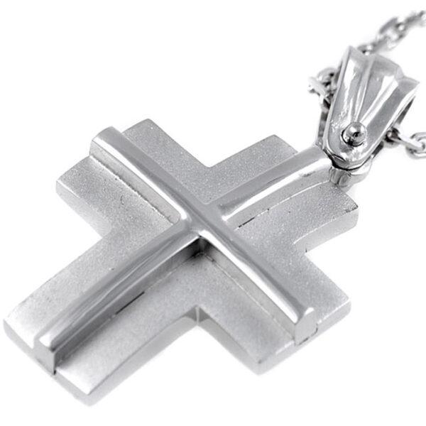 βαπτιστικός σταυρός χειροποίητος σε λευκόχρυσο