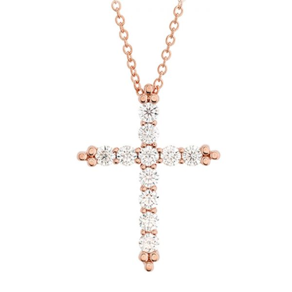 σταυρός με διαμάντια σε ροζ χρυσό