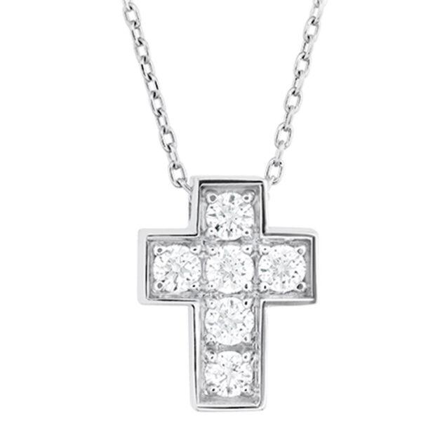βαπτιστικός σταυρός με διαμάντια για κορίτσι